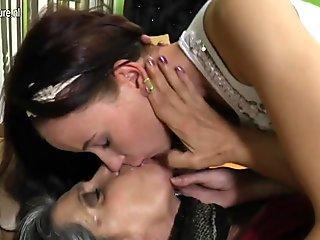 Old grandma turns young girl into lesbian