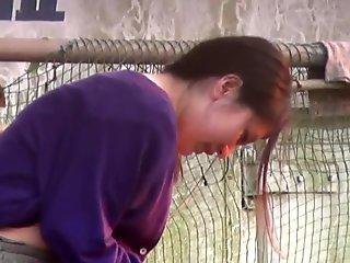 Japanese babe pisses outdoors