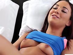 Horny Amara Romani masturbates while imagining her hot busty stepmom Syren De Mer