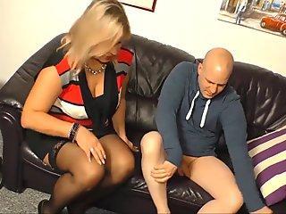 XXX OMAS - Curvy mature blonde riding bald bull