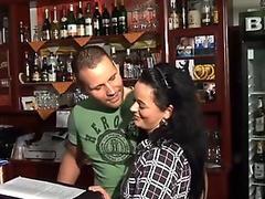 Hot German waitress sucks and rides cock