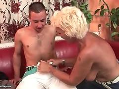 Hot hairy granny fucking young man