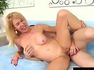 junior dude Pleasures Naughty Grandma Erica Lauren with Tongue and sausage