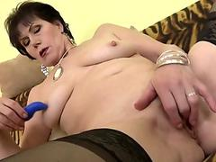 Mina in ropes gets vibrators and cocks