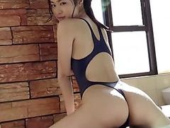 Ryo Shinoda High-Leg bathing suit (REALISE) navy gams, ass-fetish pic video solo