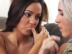 Busty gushing babe seduced by MILF