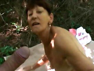 Amateur petite horny brunette granny long cock riding session outdoor with stranger