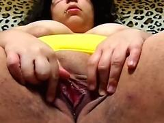 humid labia with dildo in her ass and plays with big funbags