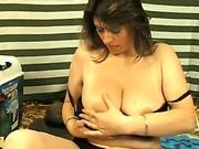 plump mummy with big bosoms masturbates with cucumber