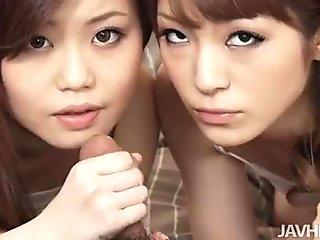 Nao and a girlfriend share a naughty dude and his hard dick taking turns sucking h