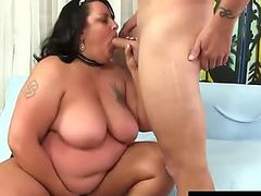 Mature Mexican BBW Lacy Bangs Takes His Long Cock in Every Single Hole