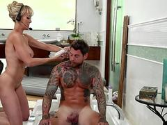 Buxom masseuse gets her jugs cum dumped