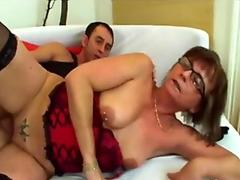 Granny finally accepts younger man to blast her needy pussy in pieces