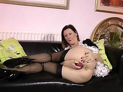 Toying stockings brit