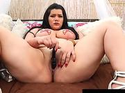 chubby Latina Angelina Castro faux-cock drills Outdoors!