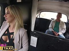 Female Fake Taxi Blonde beauty fucks her passenger