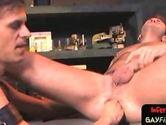 Wanking sub stud getting fisted from behind