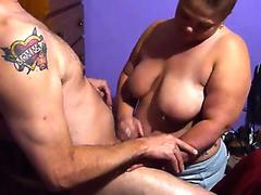 Large titted blond shows her raunchy talents