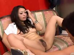 Female agent licks ass to brunette babe