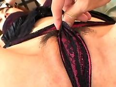 Hungry for cock Japanese cutie Hikaru Houzuki polishes a tasty dick and gets fingered actively