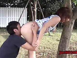 japanese female poked outside on a bench UNCENSORED