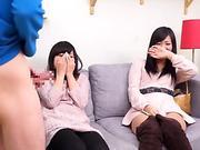 Subtitled CFNM japanese acquaintance sees surprise blowjob