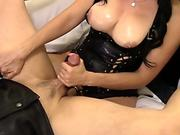 Pegging His culo after a good pussy Licking