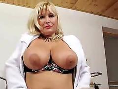 Strange blond-haired big tits mom in nurse uniform
