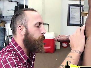 WHITE HAIRY MUSCLED dude gets pounded for the FIRST TIME