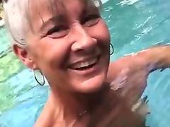 Pervert Granny Leilani in The Pool