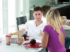 Ripe blonde babe teaches a teen how to suck her boyfriend off