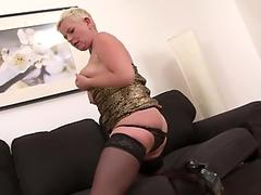 short hair grandmother takes rigid pussy fucking by BBC