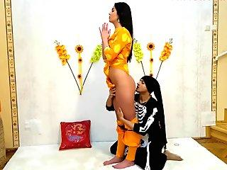 Katrina Kaif look a like girl fucked hard by men in Indian Ashram
