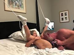 FTM transguy gets fucked missionary style by huge bareback dick POV