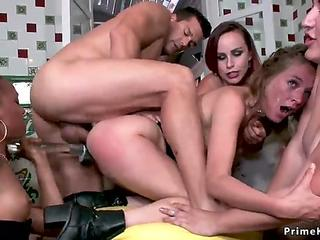 Hotties made brunette dp fuck at party