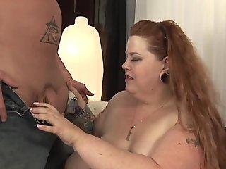 Larger redheaded lady gets spermed