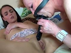 Horny old granny with cute girl masturbation