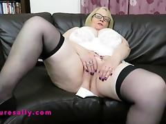 Granny in a white girdle and stockings