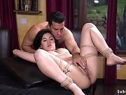 Hairy journalist whipped and fucked