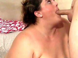 Alluring plumper pounded by a younger lover