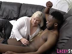Old skank with huge tits sucks black rod