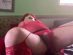 Dressed all in red for machine fuck