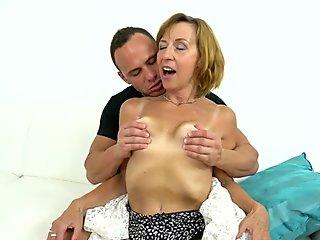 Stockings granny riding