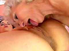 Granny Norma gets licked by pretty Tess