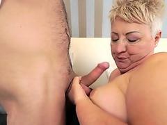 Fat grandmother sucks