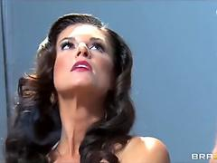 huge-boobed promiscuous brunette India Summer is gang-fucked by two cops