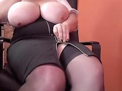 Secretary with massive tits and hairy pussy