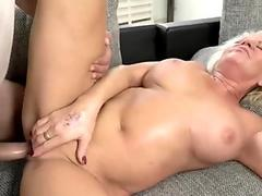 Busty blonde granny seduced by a stud