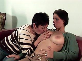 Eurobabe tribbing granny after oral fuck-fest