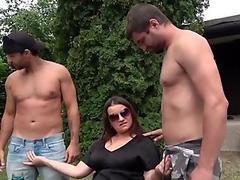 Busty ladyboy wanks while touching herself